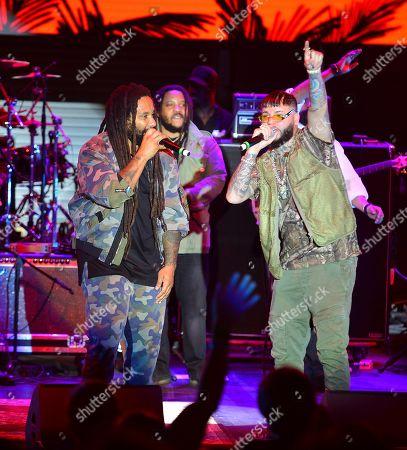 Stock Photo of Ky-Mani Marley, Stephen Marley, Damian Marley and Farruko