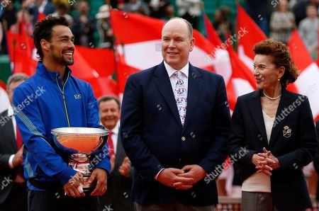 Winner Fabio Fognini of Italy (L) poses with his trophy next to Prince Albert II of Monaco (C) and Monegasque Tennis Federation Elisabeth-Anne de Massy (R) after his final match against and Dusan Lajovic of Serbia at the Monte-Carlo Rolex Masters tournament in Roquebrune Cap Martin, France, 21 April 2019.