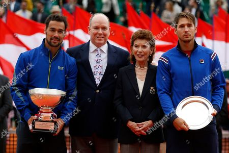 Winner Fabio Fognini of Italy (L) poses with his trophy next to Prince Albert II of Monaco (2-L), Monegasque Tennis Federation Elisabeth-Anne de Massy (2-R) and runner up Dusan Lajovic of Serbia (R) after their final match of the Monte-Carlo Rolex Masters tournament in Roquebrune Cap Martin, France, 21 April 2019.