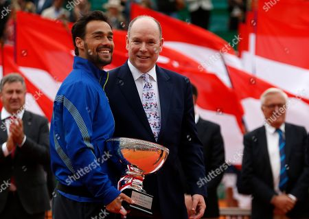 Fabio Fognini of Italy (L) celebrates next to Prince Albert II of Monaco (R) after winning his final match of the Monte-Carlo Rolex Masters tournament in Roquebrune Cap Martin, France, 21 April 2019.