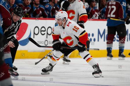 R m. Calgary Flames center Derek Ryan (10) in the second period of Game 4 of an NHL hockey playoff series, in Denver