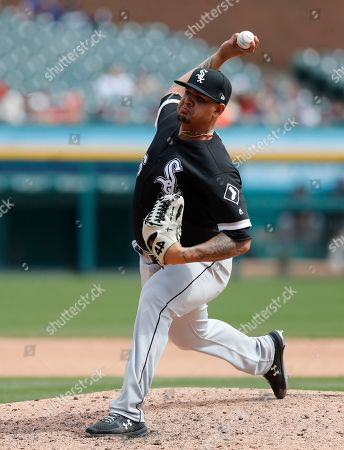 Stock Picture of Chicago White Sox relief pitcher Jose Ruiz throws during seventh inning of a baseball game against the Detroit Tigers, in Detroit