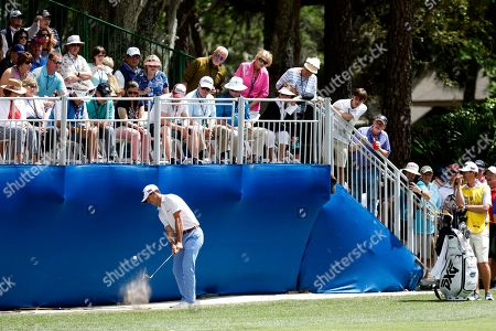 Billy Horschel chips onto 15th green with the gallery watching during the final round of the RBC Heritage golf tournament at Harbour Town Golf Links on Hilton Head Island, S.C