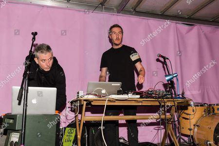 Stock Image of Robert del Naja, aka 3D, of Massive Attack plays a dj set to crowds gathered at Extinction Rebellion rally at Marble Arch on day seven of protest action.