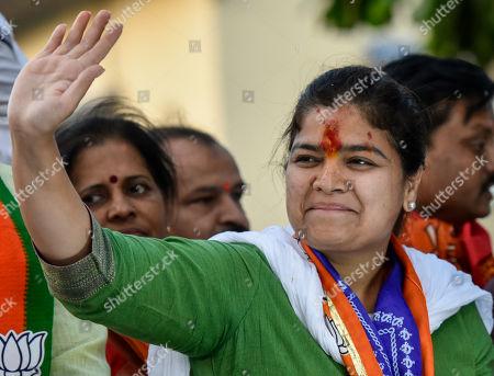Stock Image of BJP candidate from the Mumbai Northwest constituency Poonam Mahajan