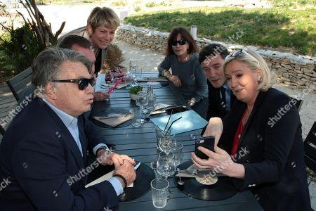Gilbert Collard, Jerome Riviere, France Jamet, Anne-Marie Collard, Julien Sanchez and Marine Le Pen