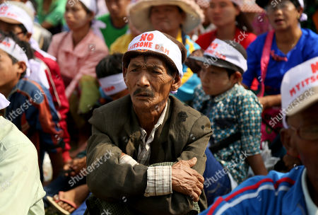People participates in a protest held in opposition to the Irrawaddy Myitsone Dam project in Waingmaw, Kachin State, Myanmar, 22 April 2019. The dam, which is being built by the Myanmar government and the China Power Investment Corporation (CPI), will be the fifteenth largest hydroelectric power plant in the world if it is completed. In 2011, former Myanmar president Thein Sein announced the suspention of the project due to protests. The project was orginally scheduled to be completed in 2017.