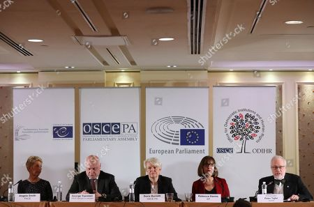 Doris Barnett (C), Head of the OSCE PA Delegation, Rebecca Harms (2-R), member of European Parliament and George Tsereteli (2-L), Special Coordinator of the Organization for Security and Co-operation in Europe (OSCE) talk to the media during a news conference of the OSCE observer mission in Kiev, Ukraine, 22 April 2019. The Central Election Commission of Ukraine has processed 94.46 per cent of the protocols of the precinct election commissions in the second round of the presidential elections in Ukraine, stating some 73.19 per cent of the voters supported presidential candidate Volodymyr Zelensky, while the incumbent head of state, Petro Poroshenko, received 24.48 per cent of the votes.