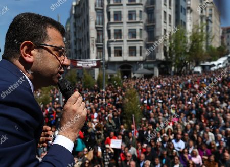 Istanbul Mayor Ekrem Imamoglu speaks during a rally protesting the attack against CHP leader Kemal Kilicdaroglu a day earlier, in Istanbul, Turkey, 22 April 2019. A group of people on 21 April attacked Kemal Kilicdaroglu before he was secured by police officers and guards during a soldier funeral in Cubuk district near Ankara.