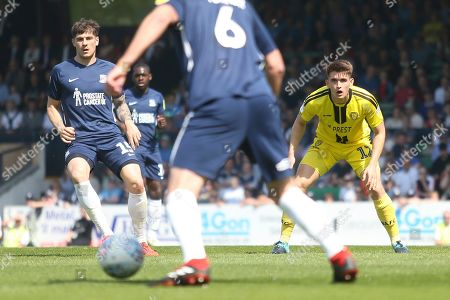 Southend United defender Rob Kiernan (15) and Burton Albion midfielder Ben Fox (12) during the EFL Sky Bet League 1 match between Southend United and Burton Albion at Roots Hall, Southend