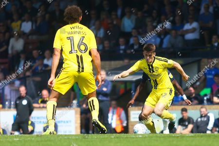 Burton Albion midfielder Ben Fox (12) attacks during the EFL Sky Bet League 1 match between Southend United and Burton Albion at Roots Hall, Southend