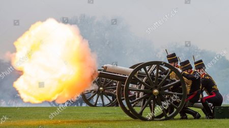 Members of the King's Troop Royal Horse Artillery take part in a 41 gun salute in Hyde Park to mark the 93rd birthday of Her Majesty The Queen.