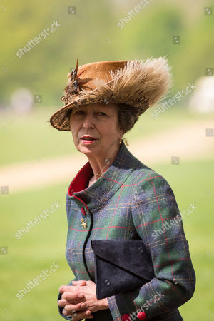 HRH Princess Anne after watching the Members of the King's Troop Royal Horse Artillery take part in a 41 gun salute in Hyde Park to mark the 93rd birthday of Her Majesty The Queen.
