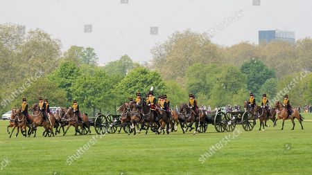 Members of the King's Troop Royal Horse Artillery arrive to take part in a 41 gun salute in Hyde Park marking the 93rd birthday of Her Majesty The Queen.