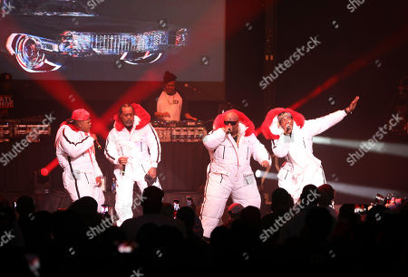 Stock Picture of CeeLo Green, Big Gipp, Khujo, T-Mo. CeeLo Green, Big Gipp, Khujo and T-Mo with Goodie Mob performs during the Dungeon Family Reunion Tour 2019 at The Fox Theatre, in Atlanta