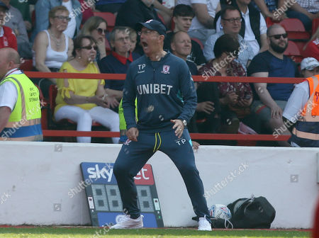 Middlesbrough Manager, Tony Pulis shows frustration