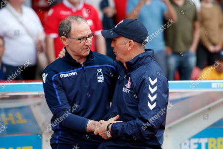Nottingham Forest Manager Martin O'Neill greets Middlesbrough Manager, Tony Pulis