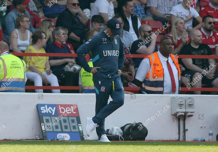 Middlesbrough Manager, Tony Pulis cuts a dejected figure
