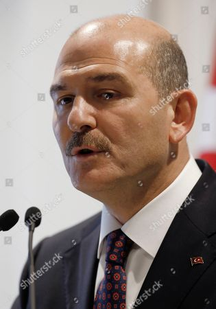 Turkey's Interior Minister Suleyman Soylu speaks during a news conference in Ankara, Turkey, a day after an attack against Turkey's main opposition Republican People's Party leader Kemal Kilicdaroglu. Soylu appeared to justify the attack by referring to the support a pro-Kurdish party _ frequently accused of links to the rebels _ gave the opposition during the March 31 elections