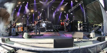 John Bell, Dave Schools, Domingo S. Ortiz, John Hermann, Jimmy Herring, Duane Trucks. John Bell, Dave Schools, Domingo S. Ortiz, John Hermann, Jimmy Herring and Duane Trucks with Widespread Panic performs during the 2019 SweetWater 420 Fest at Centennial Olympic Park, in Atlanta