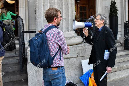Stock Image of Piers Corbyn (brother of Jeremy Corbyn) protesting as people queue to see climate change activist Greta Thurnberg.