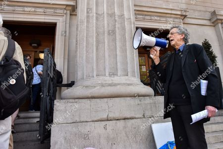 Editorial photo of Piers Corbyn stages a protest outside the Greta Thurnberg speech venue, London, UK. - 22 Apr 2019.
