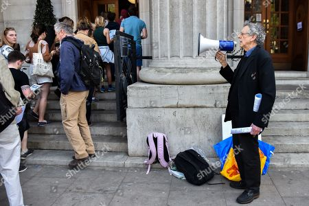 Editorial picture of Piers Corbyn stages a protest outside the Greta Thurnberg speech venue, London, UK. - 22 Apr 2019.