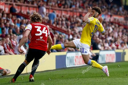 Leeds United forward Tyler Roberts (11) blocks the clearance during the EFL Sky Bet Championship match between Brentford and Leeds United at Griffin Park, London