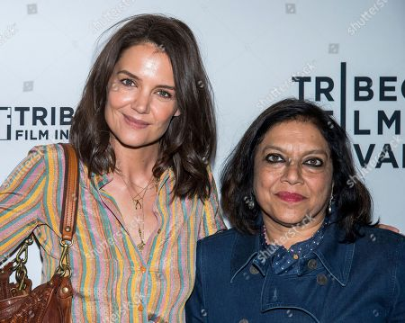 Stock Photo of Katie Holmes, Mira Nair. Katie Holmes, left, and Mira Nair attend the AT&T Presents: Untold Stories luncheon, in conjunction with the Tribeca Film Festival, at Thalassa, in New York