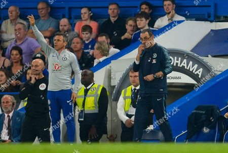 Chelsea head coach Maurizio Sarri and assistant Gianfranco Zola