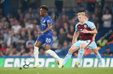 Callum Hudson-Odoi of Chelsea with Ben Mee of Burnley