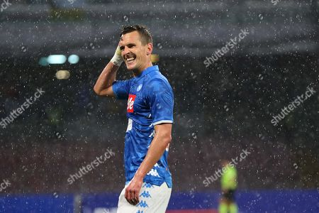 Napoli's Arkadiusz Milik reacts during the Italian Serie A soccer match between SSC Napoli and Atalanta BC at the San Paolo stadium in Naples, Italy, 22 April 2019.