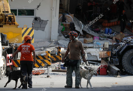 Stock Photo of Emergency responders with K-9 dogs join search operations at a collapsed commercial building in Porac town, Pampanga Province, north of Manila, Philippines, 23 April 2019. A 6.1-magnitude earthquake occurred on 22 April in the Philippine region of Luzon with an epicenter located northeast of Zambales province, according to data from the Philippine Institute of Volcanology and Seismology (Phivolcs). According to latest data from the National Disaster Risk Reduction and Management Council (NDRRMC), at least seven people were killed, 81 were hurt and 24 are still missing.