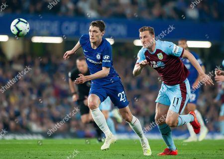 Andreas Christensen of Chelsea slips past Chris Woods of Burnley