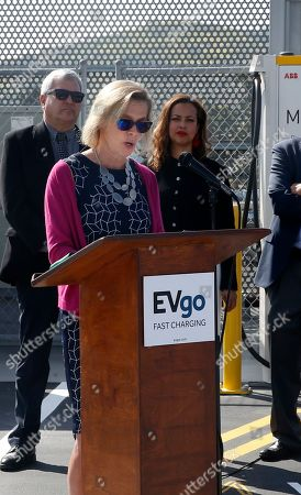 EvGo CEO Cathy Zoi speaks about the EvGo Maven network charging stations in Los Angeles, California, USA, 22 April 2019. The Maven charging station is for Maven gig members, and is the first fast charging hybrid network for public and dedicated ride share in the United States.