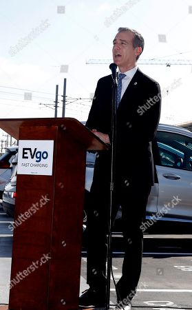 Los Angeles Mayor Eric Garcetti speaks about the importance of charging stations during the unveiling of the EvGo Maven network charging stations in Los Angeles California, USA, 22 April 2019. The Maven charging station is for Maven gig members, and is the first fast charging hybrid network for public and dedicated ride share in the United States.