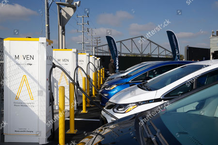 Chevy Bolts charge at the new EvGo Maven charging station in Los Angeles, California, USA, 22 April 2019. The Maven charging station is for Maven gig members, and is the first fast charging hybrid network for public and dedicated ride share in the United States.