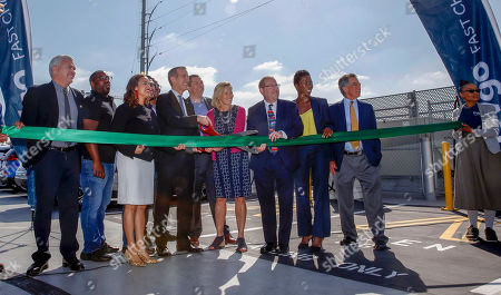 Los Angeles Mayor Eric Garcetti and EVgo CEO Cathy Zoi cut the ribbon at the unveiling of the EvGo Maven network charging stations in Los Angeles, California, USA, 22 April 2019. The Maven charging station is for Maven gig members, and is the first fast charging hybrid network for public and dedicated ride share in the United States.