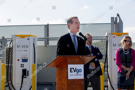 Los Angeles Mayor Eric Garcetti speaks about the importance of charging stations during the unveiling of the EvGo Maven network charging stations in Los Angeles, California, USA, 22 April 2019. The Maven charging station is for Maven gig members, and is the first fast charging hybrid network for public and dedicated ride share in the United States.