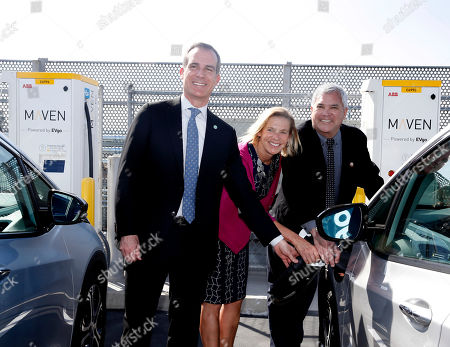 Editorial photo of EvGo's first electric vehicle fast charging station for hybrid network for public and dedicated rideshare, Los Angeles, USA - 22 Apr 2019