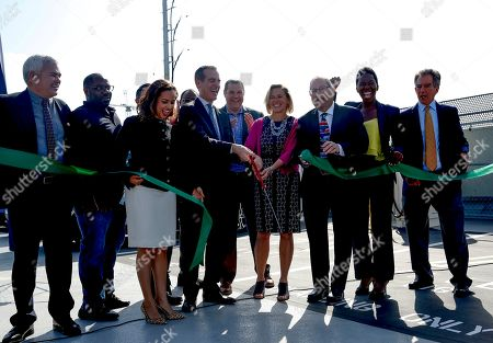 Editorial image of EvGo's first electric vehicle fast charging station for hybrid network for public and dedicated rideshare, Los Angeles, USA - 22 Apr 2019