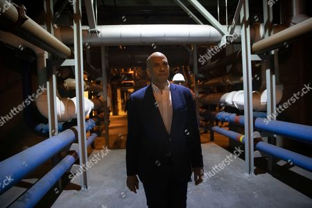 Democratic presidential candidate Sen. Cory Booker tours the Hyperion Water Reclamation Plant, in the Playa del Rey section of Los Angeles