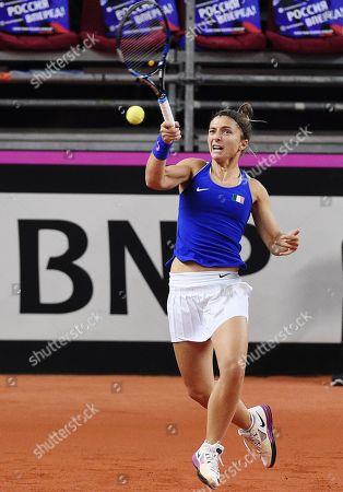 Italian tennis player Sara Errani during a doubles match with Jasmine Paolini against Russian tennis players Anastasia Potapova and Vlada Koval