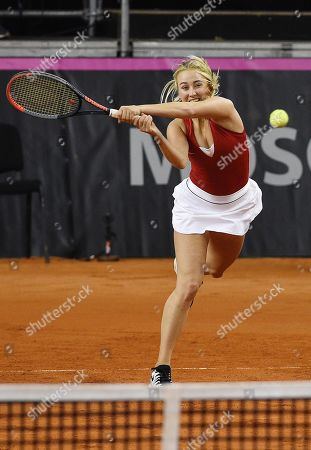 Russian tennis players Anastasia Potapova during a doubles match with Vlada Koval against Italian tennis players Jasmine Paolini and Sara Errani