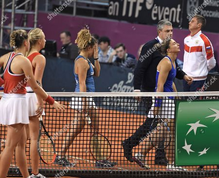 Russian tennis players Anastasia Potapova and Vlada Koval; Italian tennis players Jasmine Paolini and Sara Errani