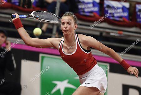 Russian tennis player Vlada Koval during a doubles match with Russian tennis player Anastasia Potapova against Italian tennis players Jasmine Paolini and Sara Errani