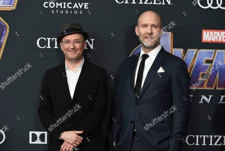 "Christopher Markus, Stephen McFeely. Screenwriters Christopher Markus, left, and Stephen McFeely arrive at the premiere of ""Avengers: Endgame"" at the Los Angeles Convention Center on"