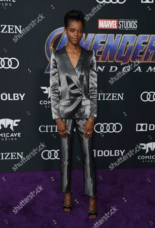 """Letitia Wright arrives at the premiere of """"Avengers: Endgame"""" at the Los Angeles Convention Center on"""