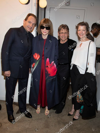 """Ralph Fiennes, Anna Wintour, Mikhail Baryshnikov, Lisa Rinehart. Ralph Fiennes, from left, Anna Wintour, Mikhail Baryshnikov and Lisa Rinehart attend a special screening of """"The White Crow,"""" hosted by The Cinema Society,, in New York"""