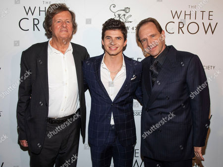 """David Hare, Oleg Ivenko, Ralph Fiennes. David Hare, from left, Oleg Ivenko and Ralph Fiennes attend a special screening of """"The White Crow"""", hosted by The Cinema Society,, in New York"""